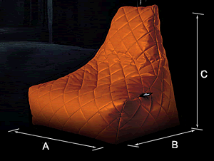 Bean Bag Crazy Mighty B Quilted Polyester Bean Bag   Dimensions