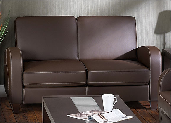 Vivo 2 seat sofabed chestnut faux leather futon sofa for Faux leather sofa seat covers